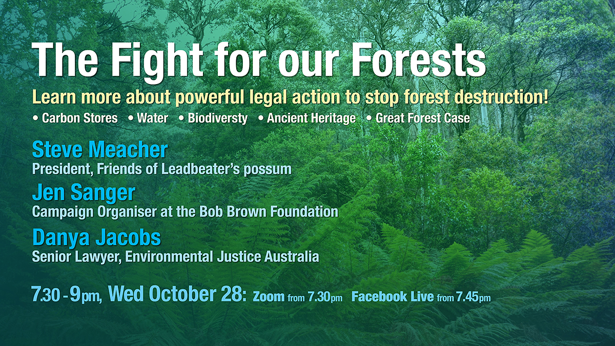 Fight for Forests. Speakers Steve Meacher, President Friends of Leadbeaters Possum, Jen Sanger Campaign Organiser Bob Brown Foundation, Danya Jacobs, Senior Lawyer, Environmental Justice Australia