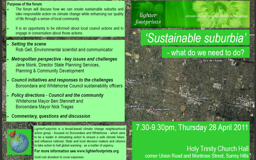Public Forum: Sustainable suburbia