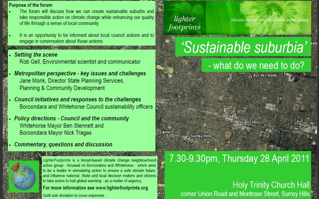 Public Forum: Sustainable suburbia