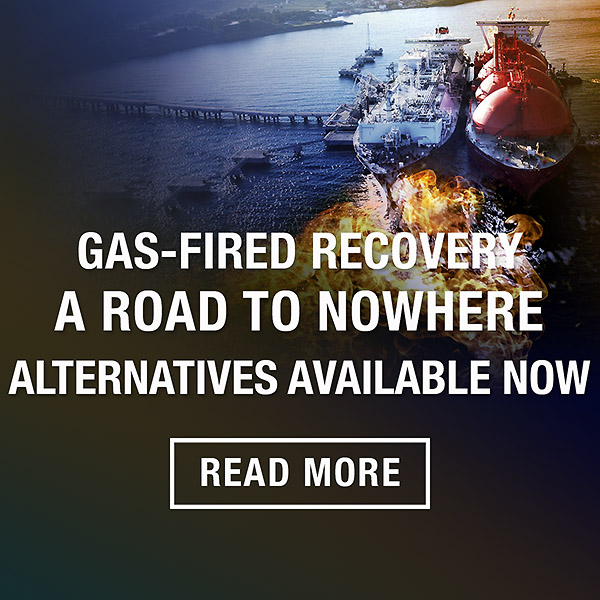 Gas-fired recovery, a road to nowhere with Tony Wood an Bruce Mountain Lighter Footprints blog
