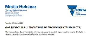 Media release from Minister Richard Wynne on Crib Point gas terminal