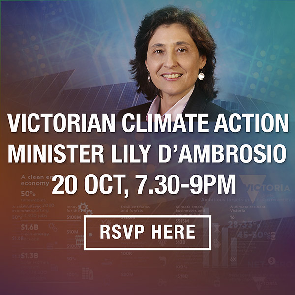 October 20 Going it alone what states can do for climate action Lighter Footprints event with Minister Lily D'Ambrosio