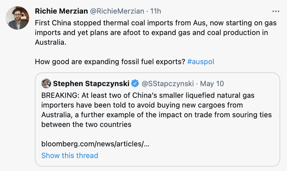Richie Merzian Tweets China is not buying our fossil fuels