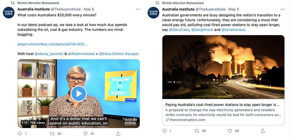 Richie Merzian Tweets Fossil Fuel support