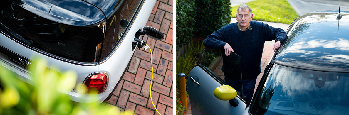 Russell Williams is able to power his electric vehicle with cleaner energy during the day through his solar system