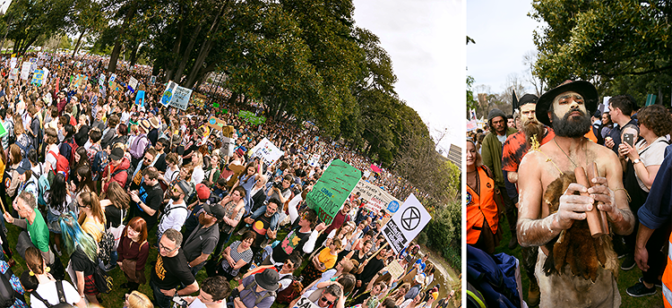 Massive crowds as far as the eye can see overflowing Treasury Gardens