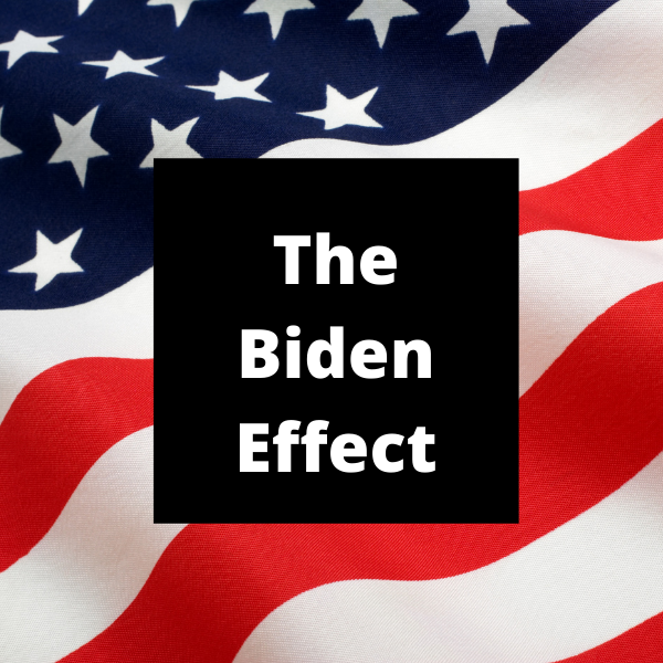 American flag background with text The Biden Effect