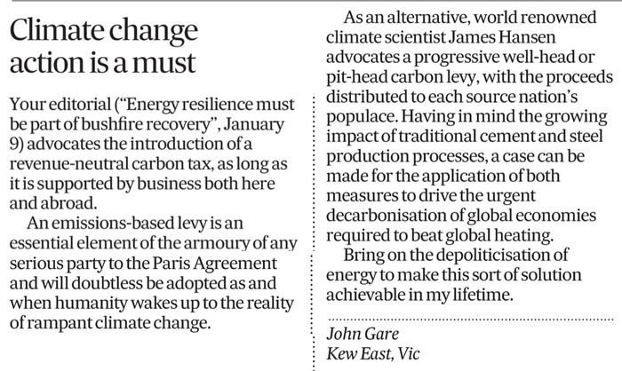 John Gare Climate letter