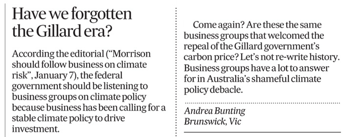 Andrea Bunting Climate letter