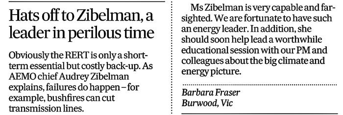Barbara Fraser Climate letter